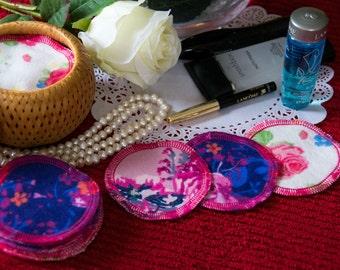 Floral reusable facial scrubbies. Cosmetics removal rounds. Makeup Remover Pads. Cotton make up scrubs. Reusable makeup pads.