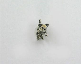 925 Sterling Silver 3-D Miniature Pot Belly Pig Charm or Jewelry