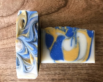 Sweet Nostalgia handmade vegan soap - floral scent, herbal, sweet, unisex, bar soap, swirled soap, blue and yellow, herbal essences type