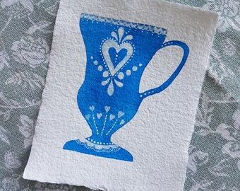 Heart Teacup - Small Original Watercolour Painting