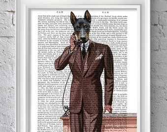 doberman pinscher on Phone, dog print on dictionary page, upcycled art print dog picture wall art wall hanging dog art doberman print