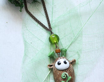 Moss Seed Cute Necklace, Tiny Forest Habitant, Forest Spirit Jewelry, Fantasy Creature Necklace, Magic Spirit Jewelry