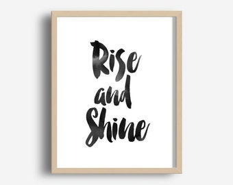 Rise And shine Print, Bedroom Wall Art, Bedroom Decor, Printable Art, Digital Download