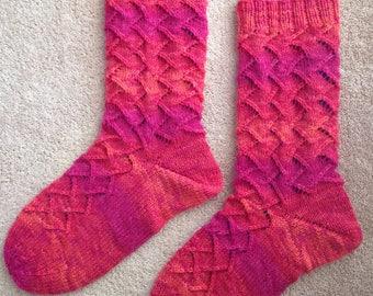Hand Knit Mens or Womens Wool Socks - Opal Sock Yarn (S-237)