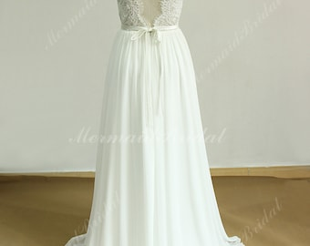 Scallop backless chiffon lace wedding wedding dress with removable satin sash and capsleeves