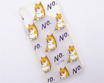 Doge Says No - Illustrated Clear iPhone Case