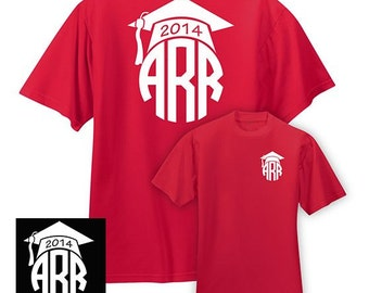 Graduation Tee with Monogram, DECAL INCLUDED