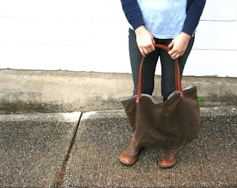 Large Brown Waxed Canvas Market Tote with Charcoal Gray and Red Lining