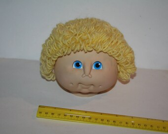Vintage 1984 Cabbage Patch Kids Boy w/ Curly Blond Hair, Blue Eyes, Dimples!  HEAD ONLY / No Doll!  Like New Condition!