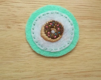 Chocolate Glazed Donut-- With Sprinkles! (Patch, Pin, Brooch, or Magnet)