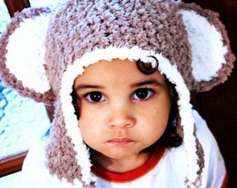2T to 4T Toddler Monkey Hat, Crochet Monkey Beanie, Brown Cream Monkey Ears, Kids Earflap Hat, Toddler Monkey Photo Prop  Winter Baby Gift