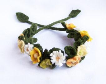 Flower crown flower headband necklace bracelet wrap Yellow poppy and daisy floral Bohemian Romantic wedding Woman Lady Multiuse 2016