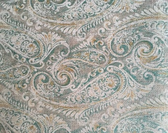 Burlap paisley blue green waverly fabric free shipping