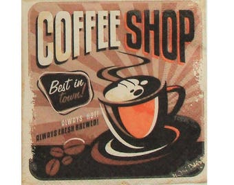 Set of 3 CUI032 Coffee Shop paper napkins