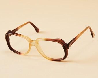 Vintage Eyeglass Frames Aviator Style - Brown / Clear Translucent Gradient - Vintage Glasses