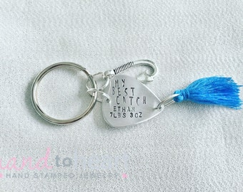Personalized Fishing Lure Keychain - Birth Stats - New Dad Keychain - Fishing Keychain