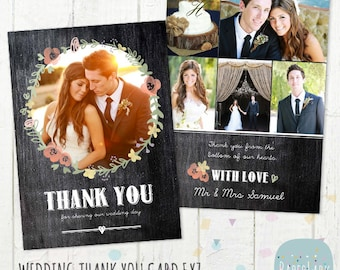 Wedding Thank You Card - Photoshop template - AW012 - INSTANT DOWNLOAD