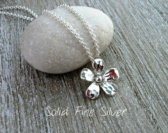 Solid Fine Silver Daisy Pendant On Sterling Silver Rolo Chain - Gift For Her - Gift For Mom - Silver Flower
