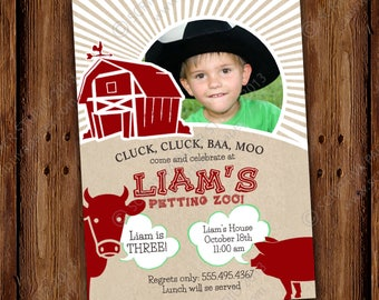 Farm Birthday Invitations -  Old McDonald Barn, Farm, Petting Zoo Animals Invite - Red Barnyard - PRINTABLE or Printed Invitations