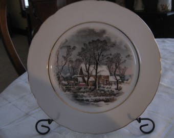 Avon Currier and Ives Old Grist Mill Collectible Plate; Avon Reward; 1977; Winter Scene