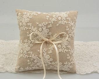 ring bearer pillow, white lace ring bearer pillow, wedding ring pillow  line