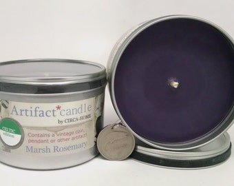 Celtic ARTIFACT CANDLE w/Authentic Embedded Artifact, Marsh Rosemary Fragrance, Connemara, Celtic, Ireland, Father's Day, 5.00 Flat Rate S/H
