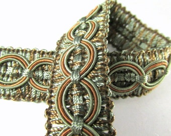 Sage Green and Copper Rust Circle Patterned 3/4 inch Fancy Braided Decorator Gimp Trim