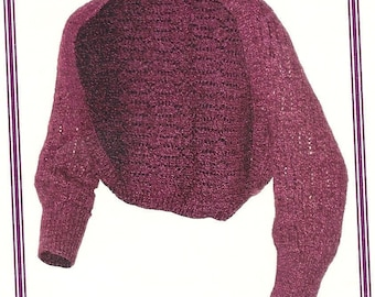 Knitting pattern for Alexis shrug in 2 sizes.