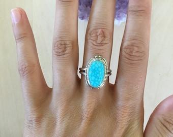 Kingman Birdseye Turquoise Ring Size 7