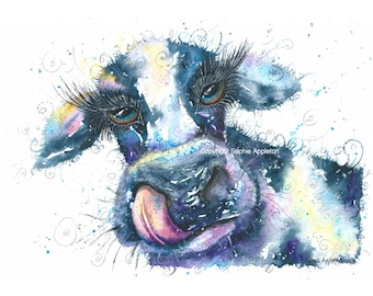 Painting The Dirty Cow - A4 Watercolour Painting printed on watercolor paper, each is hand signed by Sophie Appleton