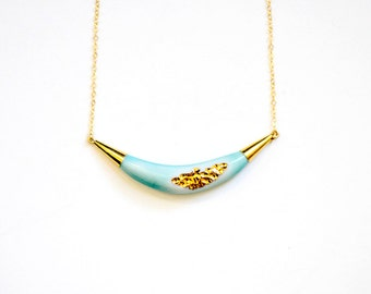 22k Gold Carved Arc Necklace - Porcelain Jewelry - Bridesmaids Gift, Turquoise Beach Jewelry - Nautical, nickel free - Porcelain and Stone