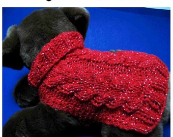 Dog sweater knitting pattern String of Hearts Cable Dog Sweater PDF