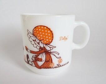Friendship Mug, Vintage White Milk Glass Mug, Daisy Kirby Martin Mug, Holly Hobbie Style Mug, Girl with Puppies, Milk Glass Coffee Cup