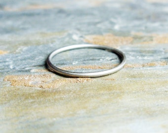 One Tiny Solid 14k White Gold Micro Stacking Halo Ring - Hammered, Brushed / Matte / Satin, or Smooth - 1mm Thin Gold Ring