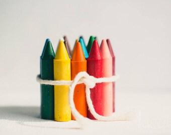 nursery wall art, modern nursery crayon print, rainbow crayons, childrens room art, kids playroom print, colorful decor, crayon art