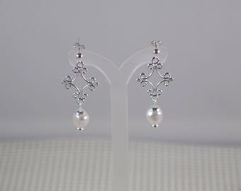 """Swarovski Baroque Pearl and Silver Diamond Earrings - Silver Diamond Links - Choice of French wires, leverbacks or posts - 1-1/2"""" Long"""