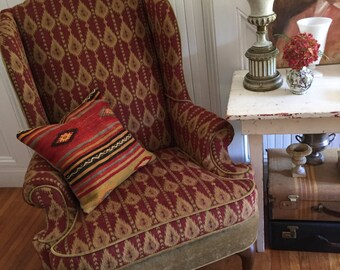 WING CHAIR Vintage Thomasville Newly Reupholstered Chenille Fabric Red Khaki Ikat Classic Boho Traditional English Country
