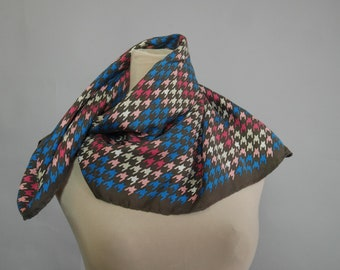 Houndstooth Silk scarf Vintage 60s 1960's Geometric Print MOD Square Neck shawl Vintage Retro Head Scarf Pure Silk Mad Men Brown Blue Pink