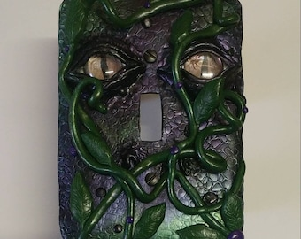 Purple and Green Dragon Eyes and Vines Clay Light Switch Cover- handmade, fantasy decor, light switch plate, home decor, dragon skin