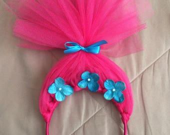 Princess Poppy Headband, poppy headband, trolls headband, trolls party, trolls, poppy troll, troll costume, princess poppy, trolls hair