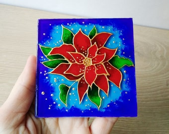 Red Poinsettia Fridge Magnet Floral Magnet Painted glass Magnet Flower Magnets Housewarming Gifts Hostess Gift Christmas gift Gift for her
