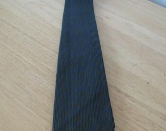 Vintage Lanvin 1960s Silk Necktie / 60s Skinny tie textured silk, Black & Gold with Blue Hue  54 x 2 inches