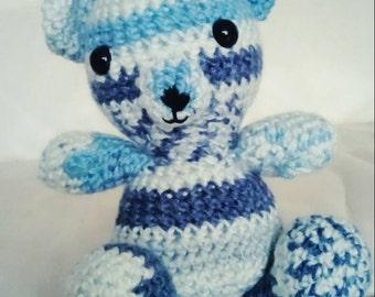 Handmade Amigurumi Blue Patterned Crochet Bear