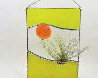 Stained glass air plant holder handcrafted by Bello Glass indoor gardening wall art gift for mom bridesmaid birthday