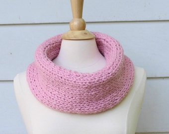 pink knit infinity scarf, pink statement necklace, pink oversized necklace, pink circle scarf, knit infinity scarf, pink scarf, cowl scarf