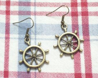 Antiqued Brass Ship Wheel Earrings, Beach Earrings, Nautical Jewelry, Antiqued Brass Nautical Jewelry, Beach Wedding, Beach Jewelry