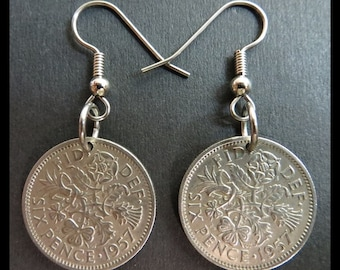 "Classic Antique (1957 VINTAGE 6p Nickel Coin Earrings - Great Britian LUCKY Six Pence ""Tudor Rose, Shamrock, Thistle & Leeks"") DIVINELY Chic"