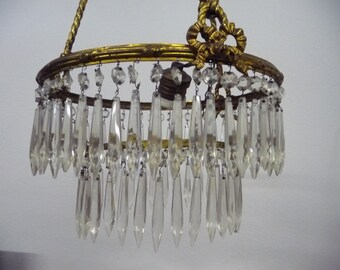FRENCH ANTIQUE CHANDELIER, 2 tiered, all original crystals, fire gilded brass
