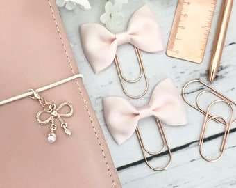 Blush Pink Ribbon Bow on Rose Gold Paperclip