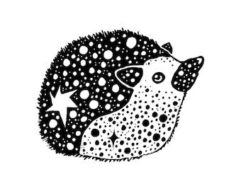 Hedgehog Drawing Digital Art Print